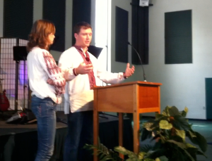 David and Katya sharing at 3rd service