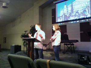 David and Katya sharing at 1st service