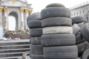 Tires used for building a fire-barricade.