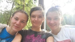 Katya and two of the girls serving at the camp