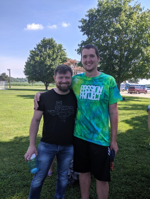 David with one of the campers who helped him with acting out a part of the message