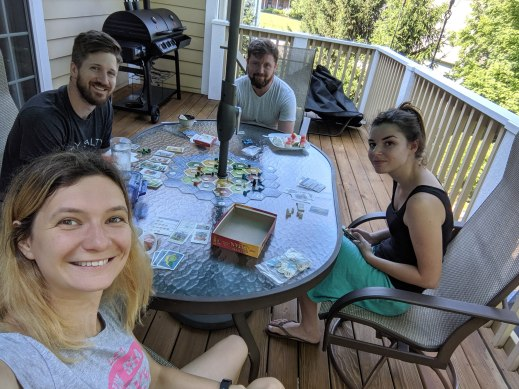 Playing board games with former missionaries, Jeremy and Ira